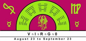 Virgo Symbol with planetary rulership of Mercury