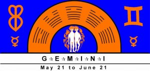 Gemini Symbol with planetary rulership of Mercury